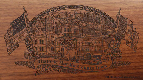 Hardin county iowa engraved rifle buttstock