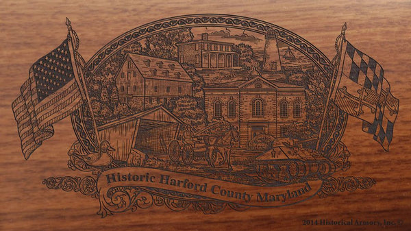 Harford county maryland engraved rifle buttstock