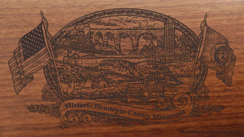 Hennepin county minnesota engraved rifle buttstock