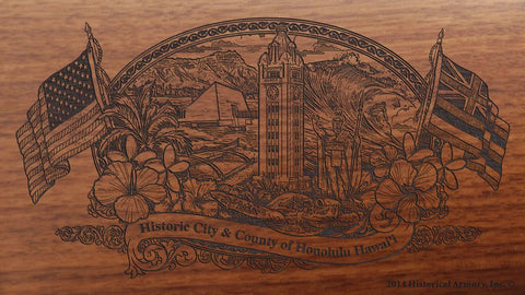 Honolulu county hawaii engraved rifle buttstock