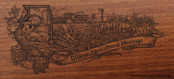 Illinois Agricultural Engraved Rifle Artwork