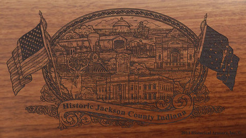 Jackson county indiana engraved rifle buttstock