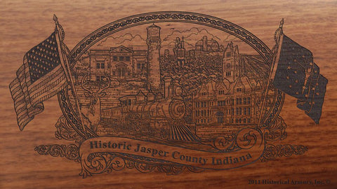 Jasper county indiana engraved rifle buttstock