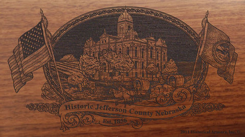 Jefferson county nebraska engraved rifle buttstock