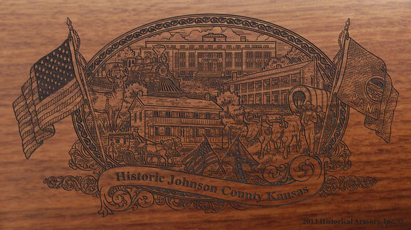Johnson county kansas engraved rifle buttstock
