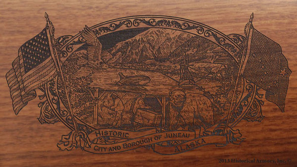 Juneau County Alaska engraved rifle buttstock
