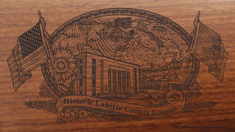 Labette county kansas engraved rifle buttstock