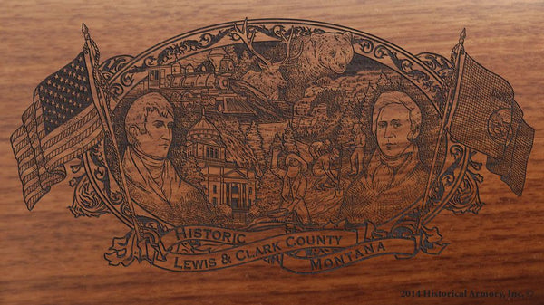 Lewis Clark county montana engraved rifle buttstock