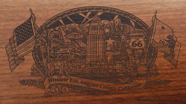 Los Angeles county california engraved rifle buttstock