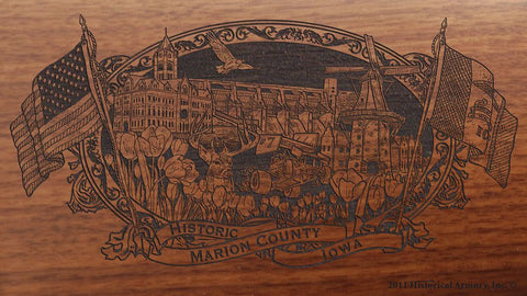 Marion county iowa engraved rifle buttstock