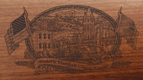 Marshall county kansas engraved rifle buttstock