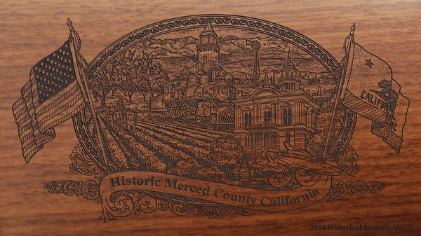 Merced county california engraved rifle buttstock