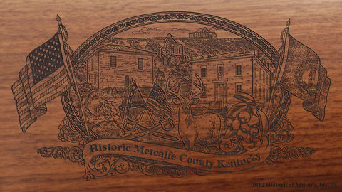 Metcalfe county kentucky engraved rifle buttstock