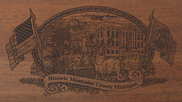 Montcalm county michigan engraved rifle buttstock