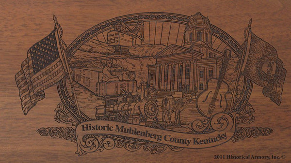 Muhlenberg county kentucky engraved rifle buttstock