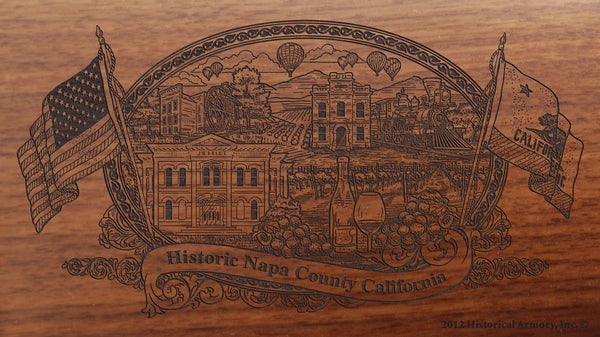 Napa county california engraved rifle buttstock
