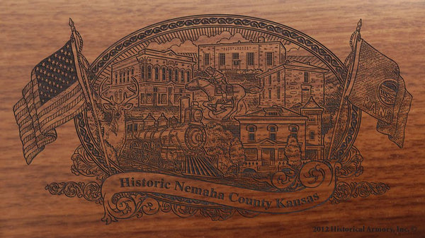 Nemaha county kansas engraved rifle buttstock