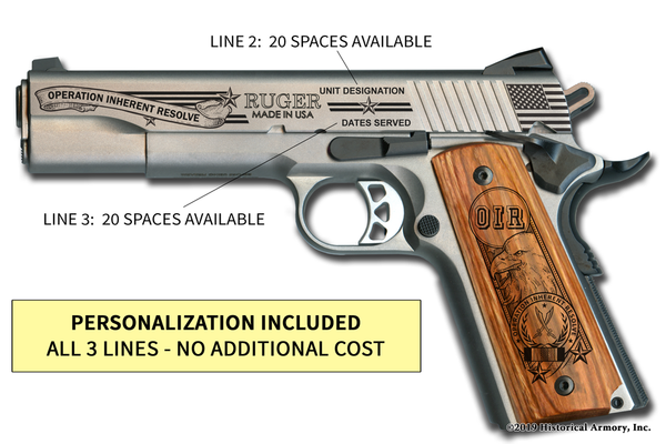 Operation Inherent Resolve Edition 1911 engraved pistol