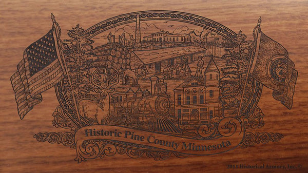 Pine county minnesota engraved rifle buttstock