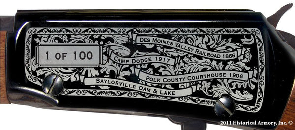 Polk county iowa engraved rifle H001 receiver