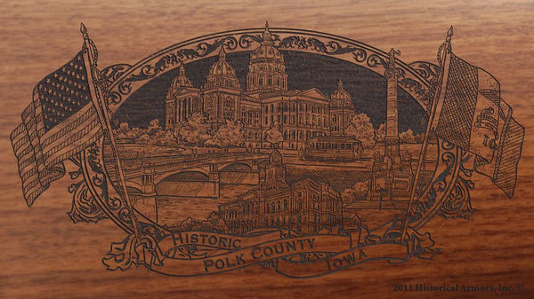 Polk county iowa engraved rifle buttstock