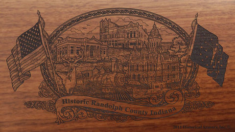 Randolph county indiana engraved rifle buttstock
