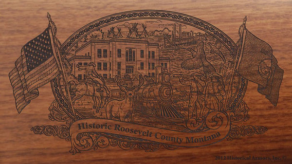 Roosevelt county montana engraved rifle buttstock