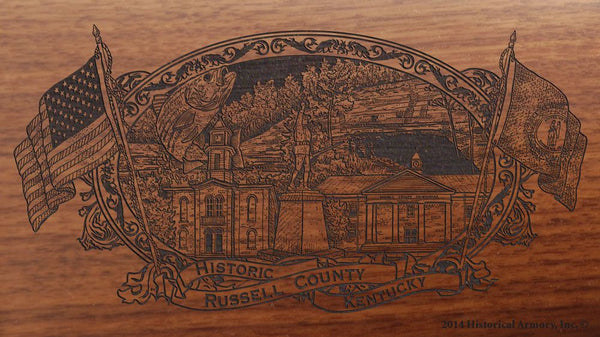 Russell county kentucky engraved rifle buttstock