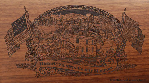 Sanders county montana engraved rifle buttstock
