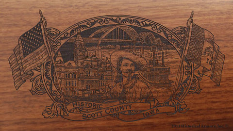 Scott county iowa engraved rifle buttstock