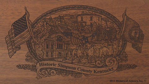 Simpson county kentucky engraved rifle buttstock