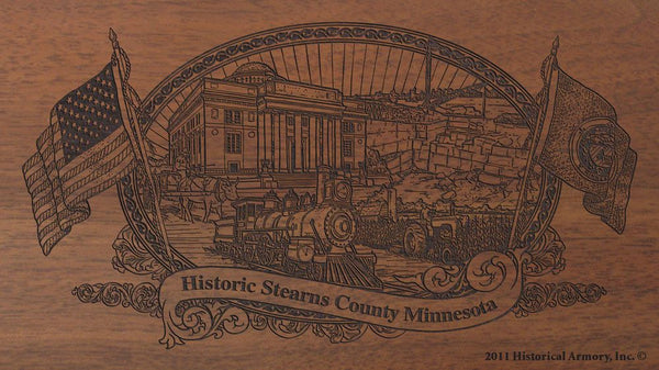 Stearns county minnesota engraved rifle buttstock