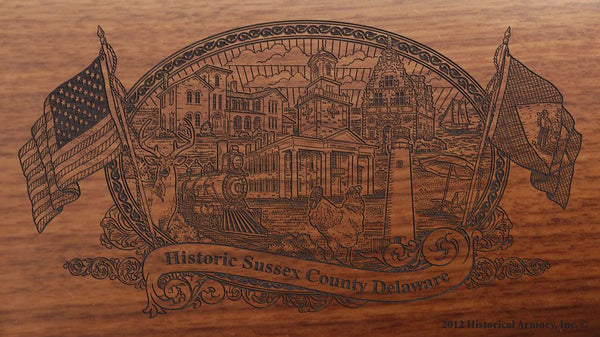 Sussex county delaware engraved rifle buttstock