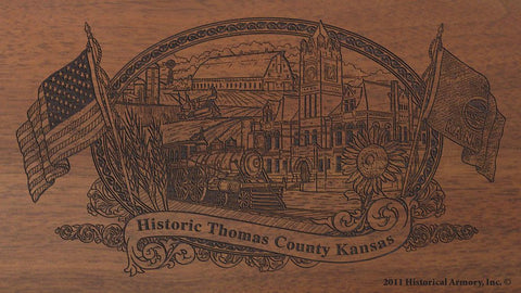 Thomas county kansas engraved rifle buttstock