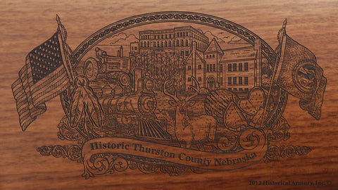 Thurston county nebraska engraved rifle buttstock