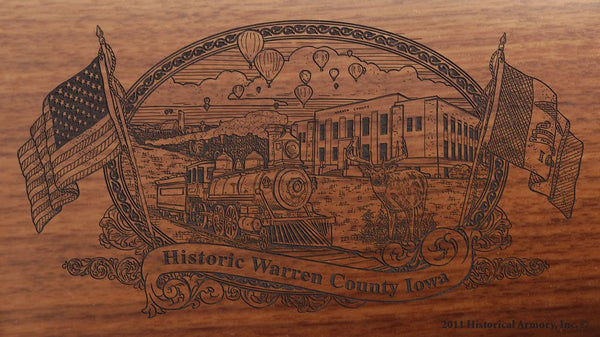 Warren county iowa engraved rifle buttstock