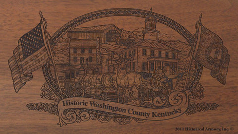 Washington county kentucky engraved rifle buttstock