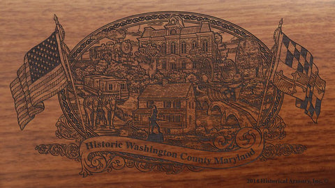 Washington county maryland engraved rifle buttstock