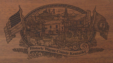 Wayne county kentucky engraved rifle buttstock