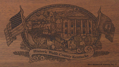 Wolfe county kentucky engraved rifle buttstock