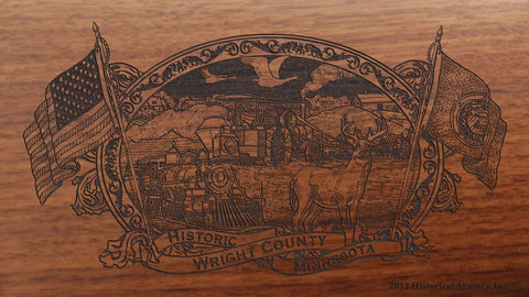 Wright county minnesota engraved rifle buttstock