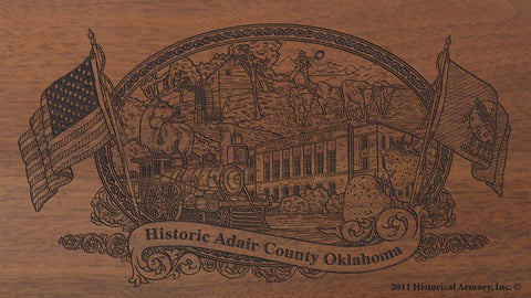 adair county oklahoma engraved rifle buttstock