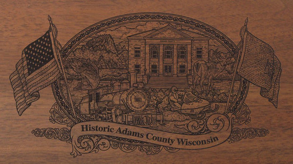 adams county wisconsin engraved rifle buttstock