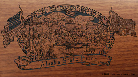 alaska state engraved rifle buttstock