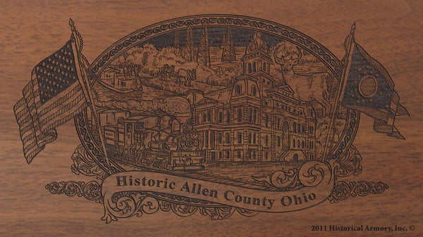 allen county ohio engraved rifle buttstock