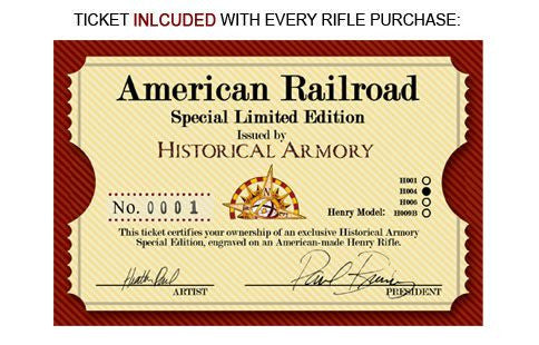 american railroad engraved rifle Ticket