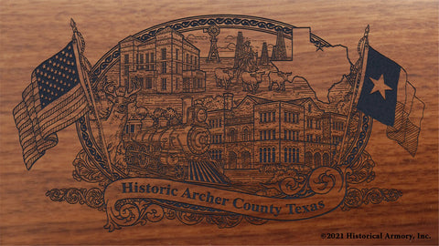 archer county texas engraved rifle buttstock