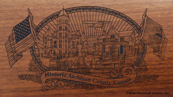 Atchison County Kansas Engraved Rifle Buttstock