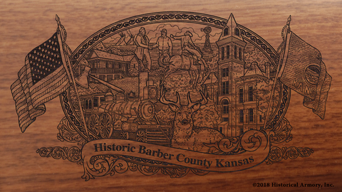 Barber County Kansas Engraved Rifle