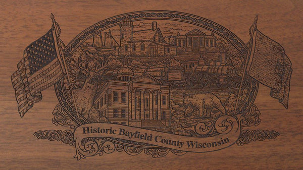bayfield county wisconsin engraved rifle buttstock